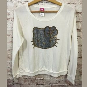 Hello Kitty Sweatshirt Sequins Wide Neck cream